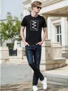 袋鼠男装休闲黑色T恤