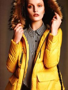 艾邑茨女裝黃色帶帽羽絨服