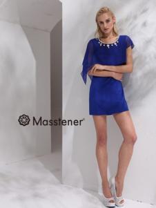 玛士天纳女装深蓝网纱连衣裙