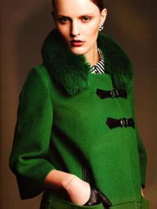 艾邑茨女裝綠色休閑大衣