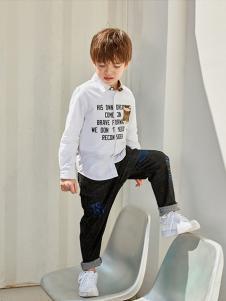 巴帝巴帝童装白色字母衬衫
