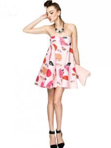 水墨山水女装粉色印花抹胸连衣裙