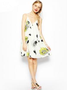 水墨山水女装白色印花吊带连衣裙