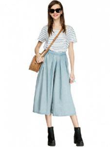 水墨山水女装蓝色宽松时尚休闲裤