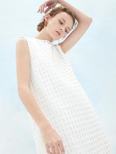 MEACHEAL女装白色无袖连衣裙