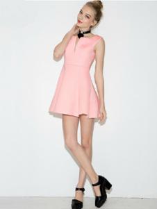 水墨山水女装粉色无袖连衣裙