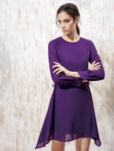 蔓露卡新款时尚气质中长款雪纺连衣裙