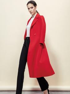 蔓露卡新款森系中长款红色大衣