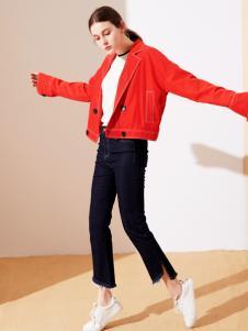 樊羽女装18红色休闲夹克