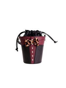皮创文化美女与野兽系列水桶包暗红色