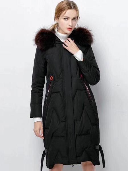衣佰芬黑色羽绒服