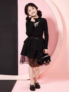 嗒嘀嗒秋冬新款黑色连衣裙