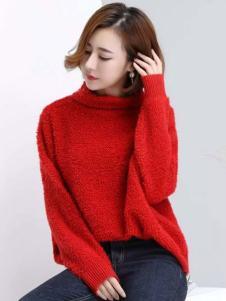 衣佰芬红色宽松毛衣