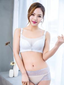 玫瑰春天新款轻薄白色文胸套装
