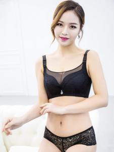 玫瑰春天新款轻薄黑色文胸套装