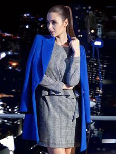 CARABLUE女装蓝色中长款大衣