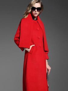衣佰芬红色修身大衣