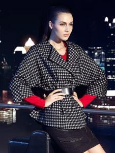 CARABLUE女装黑白格子七分袖外套