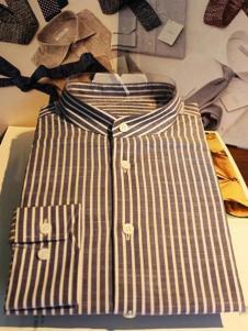 NOPAI男装棕色立领条纹衬衫