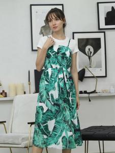 茜尔菲尼女装绿色印花吊带连衣裙