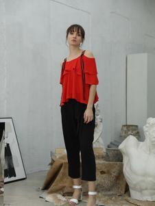 茜尔菲尼女装红色露肩上衣
