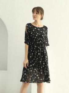 茜尔菲尼女装黑色印花连衣裙