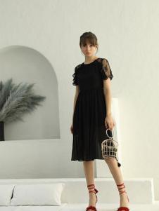茜尔菲尼女装黑色雪纺连衣裙