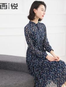 西悦女装蓝色碎花连衣裙