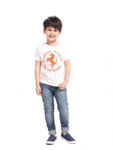 滨贝儿童装白色字母T恤