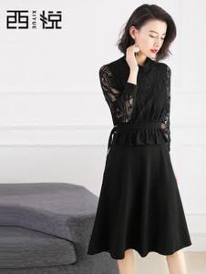 西悦女装黑色蕾丝假两件连衣裙