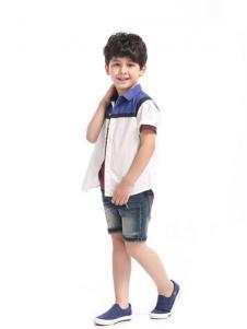 滨贝儿童装白色休闲衬衫