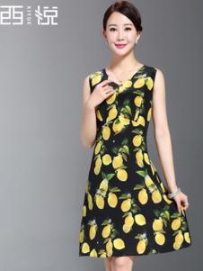 西悦女装黑色印花连衣裙