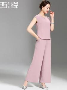 西悦女装粉色无袖时尚套装
