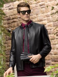 卡度尼男装黑色皮衣