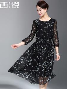 西悦女装黑色碎花连衣裙