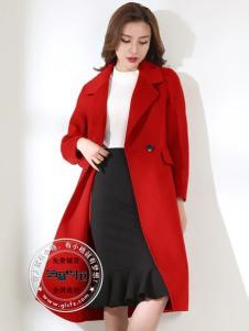芝麻e柜女装红色大衣