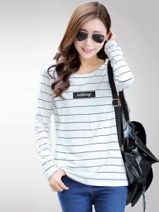 格姿恋女装白色细条纹T恤