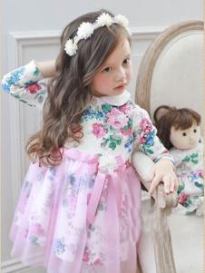安妮公主童装梅红印花连衣裙