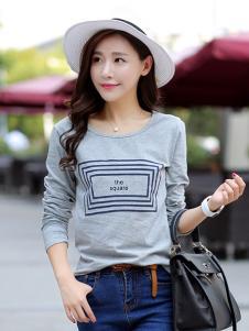 格姿恋女装灰色方框T恤