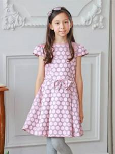 安妮公主童装粉色圆点连衣裙