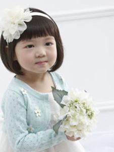 安妮公主童装蓝色印花针织开衫