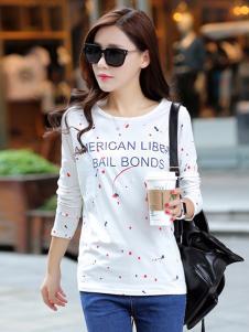格姿恋女装白色印花圆领T恤