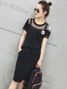 美丽淘女装黑色露肩连衣裙