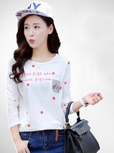 格姿恋女装白色红圆点T恤