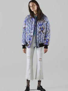 chictopia女装蓝色条纹印花外套