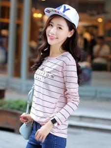格姿恋女装粉色细条纹字母T恤