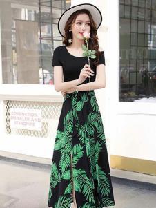 美丽淘女装黑色印花开叉半身裙