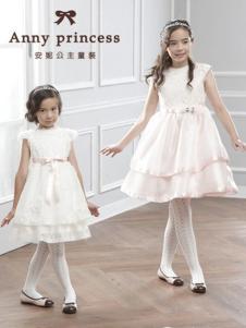 安妮公主童装白色收腰女裙