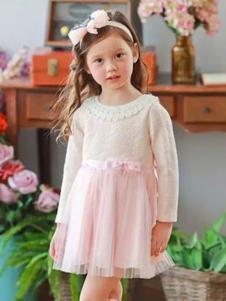 安妮公主童装粉色长袖连衣裙