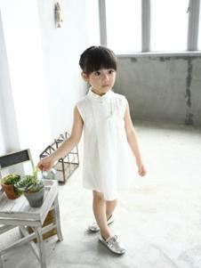 小猪班尼童装白色无袖女裙